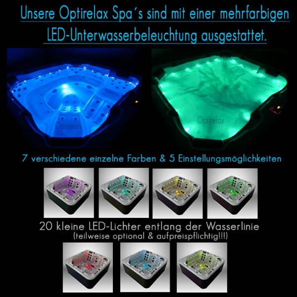 Optirelax Spa's mit mehrfarbiger LED-Unterwasserbeleuchtung