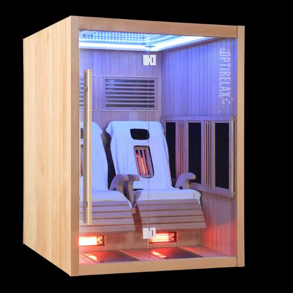 Infrarotkabine IM-150 LED Farblichtsystem Spiegel Vollspektrum- und Carbonflächenstrahler