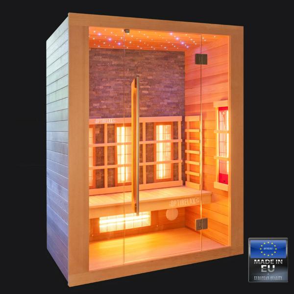 Infrarotkabine Infrastone LED Sternenhimmel Echtsteinrückwand