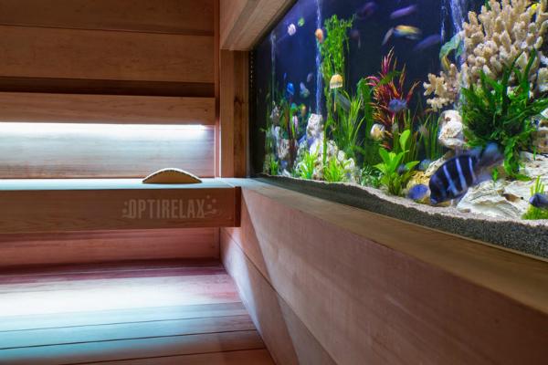 Innensauna mit integriertem Aquarium