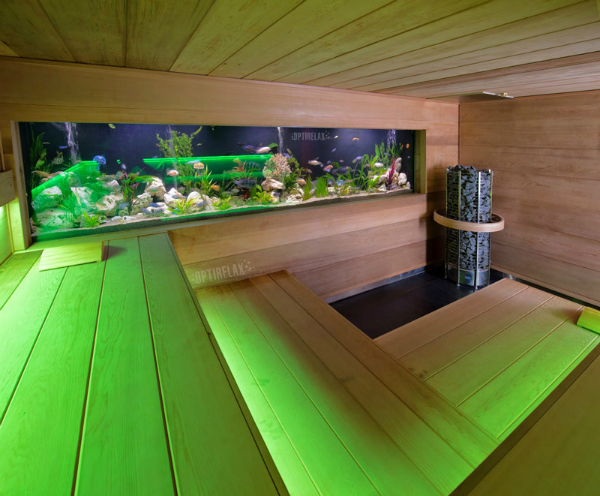 Luxus Indoor Sauna mit Aquarium