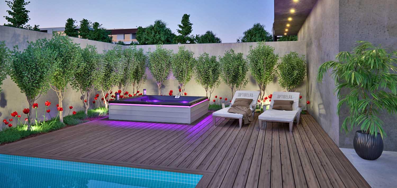 Whirlpool Terrasse eingebauter Pool   OPTIRELAX DESIGN WHIRLPOOL ...