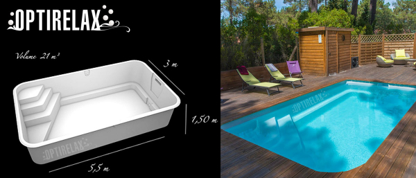 Premium Fertigbecken Pool ABL-B55 optional mit Elektroheizung, Waermetauscher oder Luftwaermepumpen