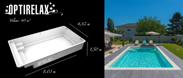 Schwimmbecken-Pool ABL-R803 8 Meter optional mit Elektroheizung oder Waermetauscher oder Luftwaermepumpe