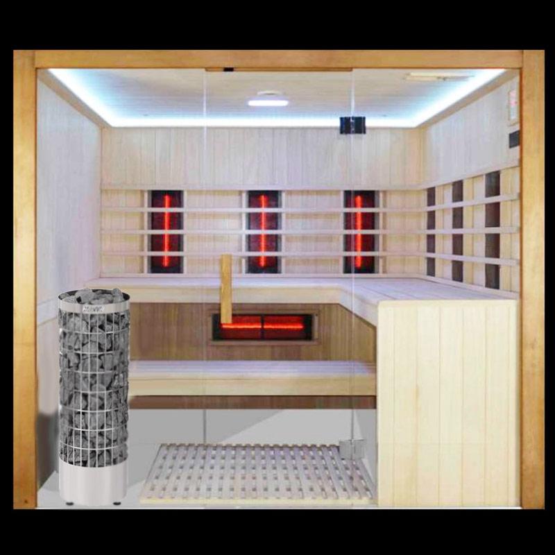 Sauna mit Ofen und Infrarotstrahlern und großer Glasfront