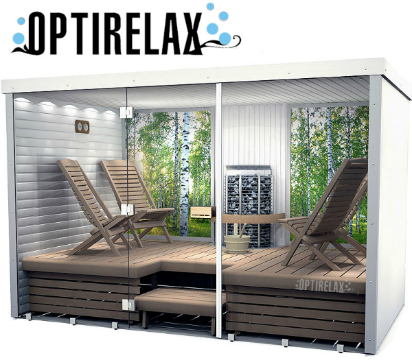 Sauna mit Glasfront Hotrelax XXL-I