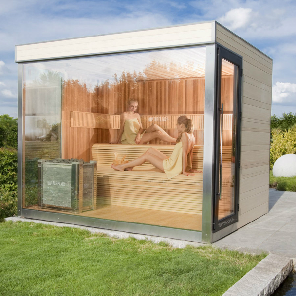 sauna mit glasfront optirelax blog. Black Bedroom Furniture Sets. Home Design Ideas