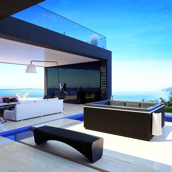 Outdoor Whirlpool auf der Terrasse der Luxus Villa - OPTIRELAX Whirlpools