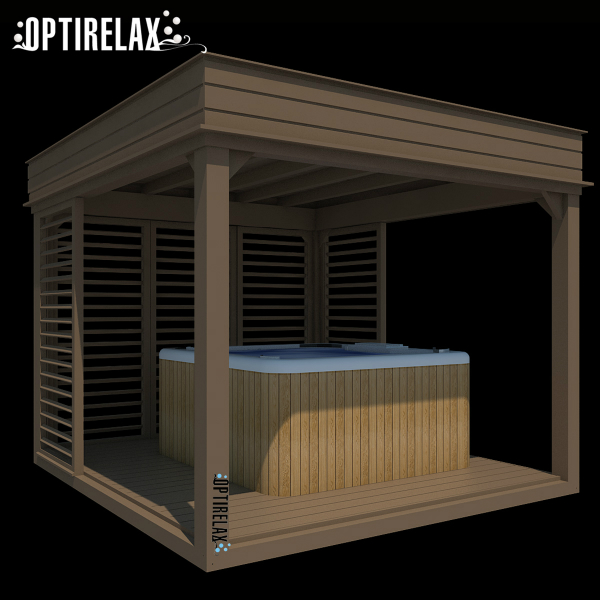 Whirlpoolueberdachung Holz Lounge A braun