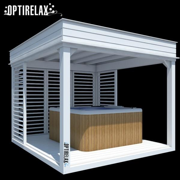 Whirlpoolueberdachung Holz Lounge A weiss