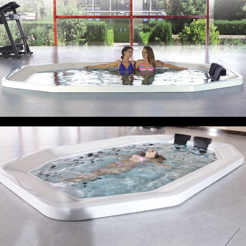 Überlaufrinnenwhirlpool - XL Whirlpool mit Überlauf für Hotels und gewerbliche Nutzung