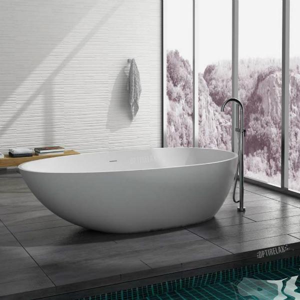 Freistehende Badewanne aus Mineralguss Bologna