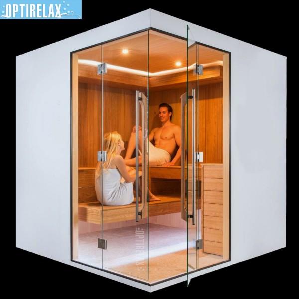 Luxus Sauna IND-White mit Lichtakzenten