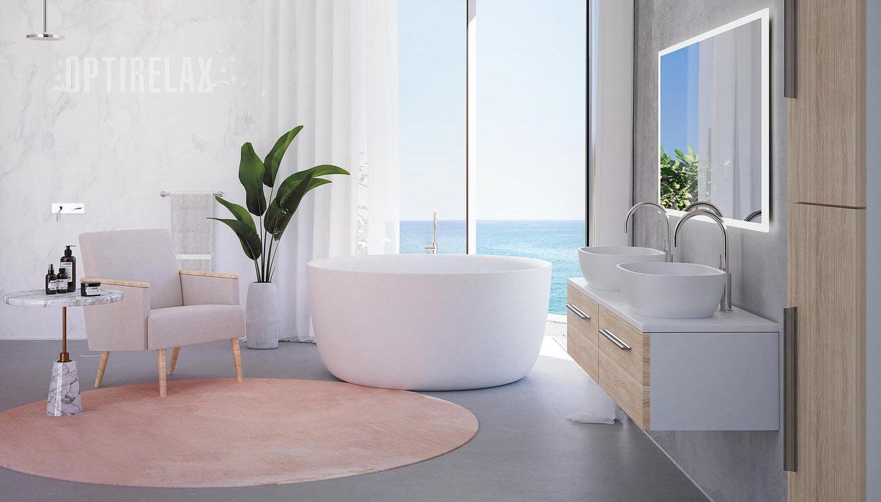Moderne Mineralgusswanne - runde freistehende Badewanne